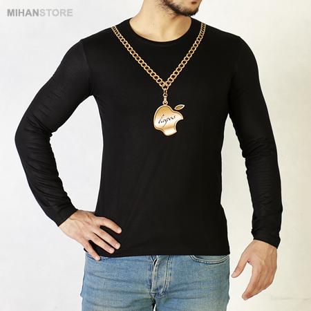 تی شرت آستین بلند اپل طرح زنجیر طلایی