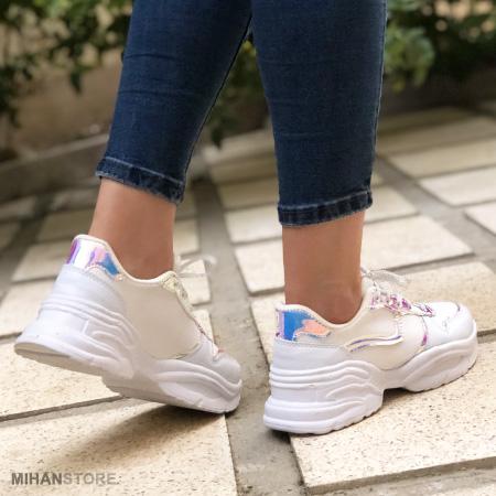 خرید کفش کتونی چرم مصنوعی فشن سفید دخترانه کفی پهن