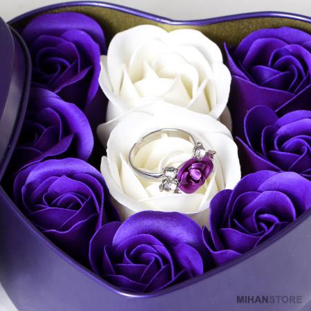 خرید ارزان  پکیج کادویی هدیه انگشتر و گل عطری عشق 2020