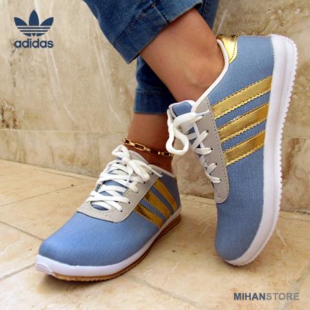 کفش کتانی دخترانه فشن Adidas مدل Denim نوار طلایی