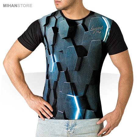 تی شرت آستین کوتاه سه بعدی یقه گرد عجیب