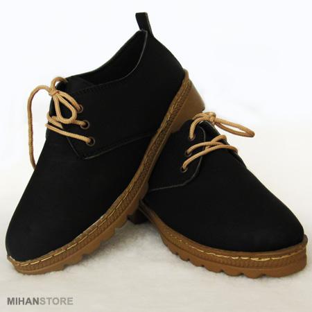 کفش دخترانه مشکی دور دوزی شده سایزهای 37 تا 40