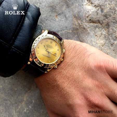 ساعت مردانه رولکس بند چرمی تک موتوره