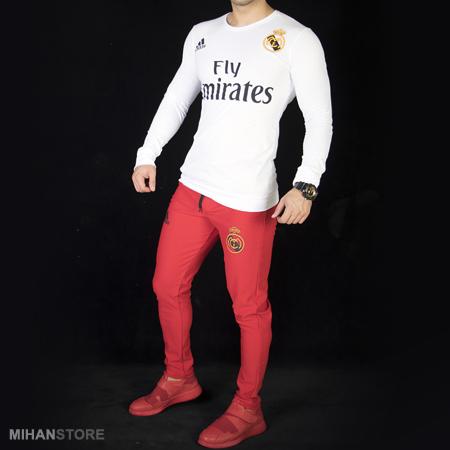 تی شرت سفید  شلوار قرمز رئال مادرید مردانه فری سایز