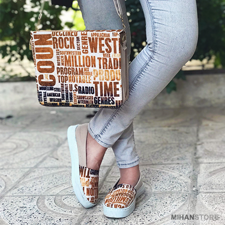 ست کیف و کفش مخمل تایپو  دخترانه طرح فشن