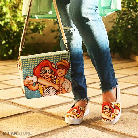 ست کیف و کفش دخترونه مدل فانتزی طرح عشق