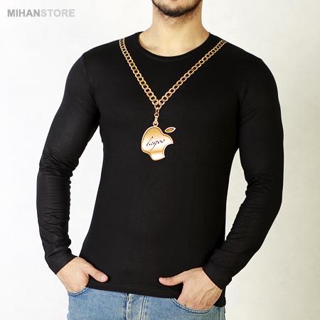 خرید اینترنتی تی شرت آستین بلند اپل طرح زنجیر طلایی