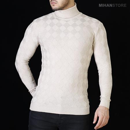 فروشگاه سایت خرید اینترنتی پستی لباس پاییزی زمستانی بافت یقه اسکی کشباف فری سایز برجستگی های لوزی مدل 1396 لباس بافت 2017 مردانه پسرانه مدل ساده بدون طرح