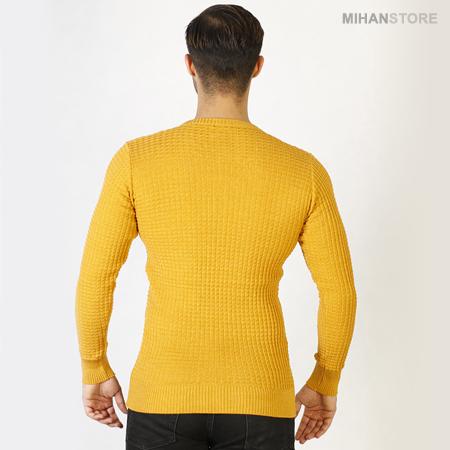 خرید اینترنتی بافت مردانه رنگ خردلی فری سایز