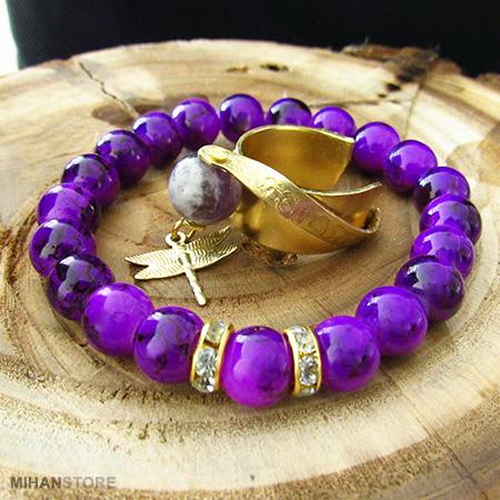 فروش پستی ست دستبند و انگشتر Violet