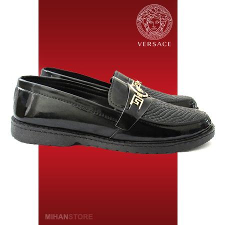 کفش ورنی مردانه پسرانه Versace رنگ مشکی ارزان