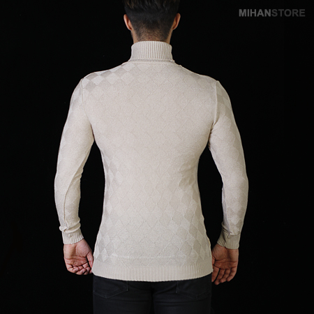 خرید اینترنتی پستی بلوز بافت مردانه یقه اسکی نسکافه ای