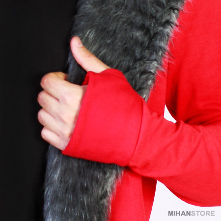 هودی جلوز باز خزدار مردانه رنگ قرمز