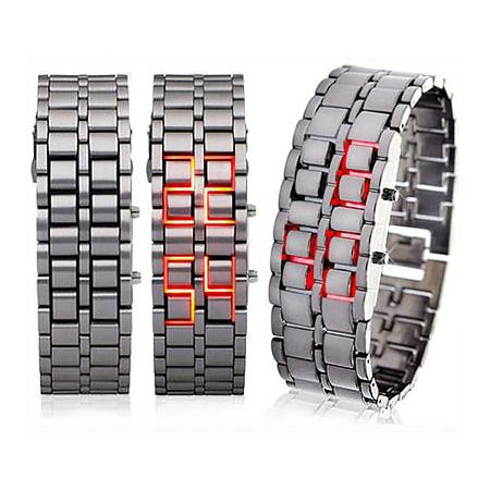 خرید ساعت مچی سامورایی نقره ای ال ای دی ابی و قرمز